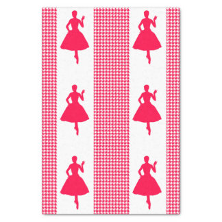 Poppy Modern Houndstooth with Fashion Silhouette Tissue Paper
