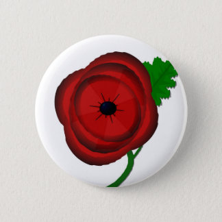 Poppy on white - badge 2 inch round button