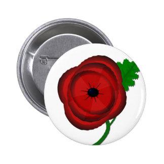 Poppy on white - badge 2 inch round button