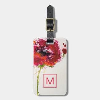 Poppy on White Luggage Tag