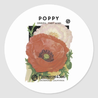 Poppy, Oriental Finest,  F. Lagomarsino & Sons Classic Round Sticker