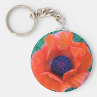 POPPY Oriental Red Orange --- Basic Round Button Keychain