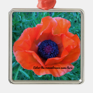 POPPY Oriental Red Orange --- Metal Ornament