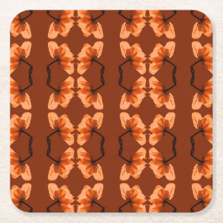 poppy pattern square paper coaster