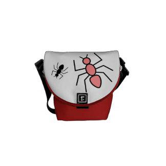 Poppy Red & Black Vector Ants Messenger Bag