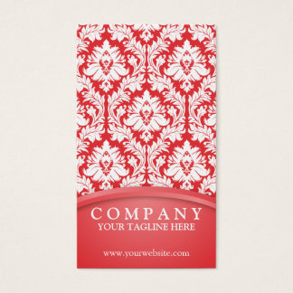 Poppy Red Damask Business Card