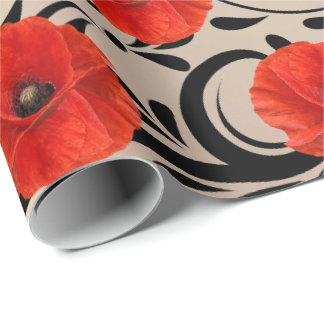 Poppy Red Flower Black Glam Glam Stripes Copper Wrapping Paper