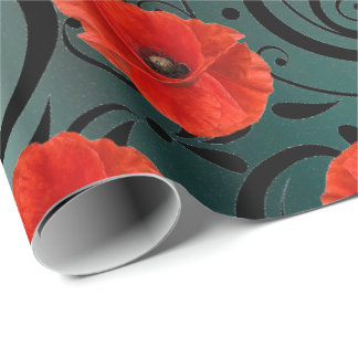 Poppy Red Flower Black Glam Glam Stripes Teal Wrapping Paper