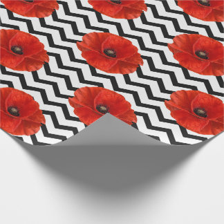 Poppy Red Flower Black White Glam Chevron Lines Wrapping Paper
