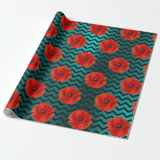 Poppy Red Flower Black White Glam Chevron Teal Wrapping Paper