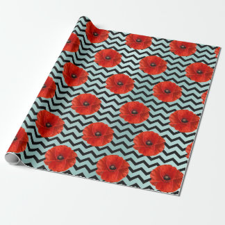 Poppy Red Flower Black White Glam Chevron Tiffany Wrapping Paper