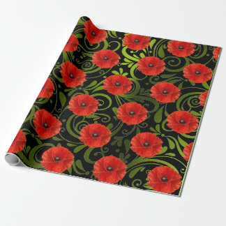 Poppy Red Flower Black White Glam Metallic Green Wrapping Paper
