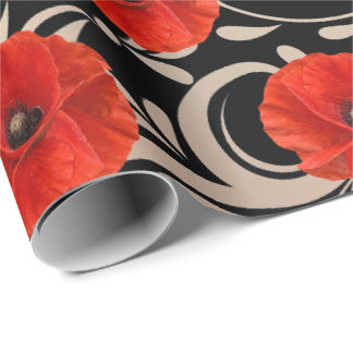 Poppy Red Flower Black White Glam Metallic Wrapping Paper