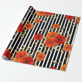 Poppy Red Flower Black White Glam Stripes Glam VIP Wrapping Paper