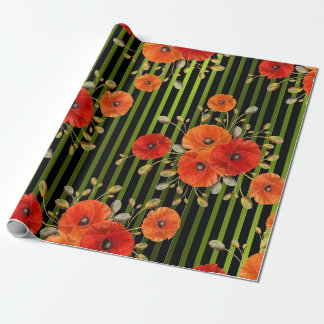 Poppy Red Flower Black White Glam Stripes Green Wrapping Paper