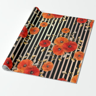 Poppy Red Flower Black White Glam Stripes Metallic Wrapping Paper