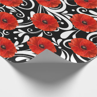 Poppy Red Flower Black White Glam Wrapping Paper