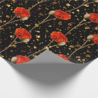 Poppy Red Flower Orange Glam Black Gold Confetti Wrapping Paper