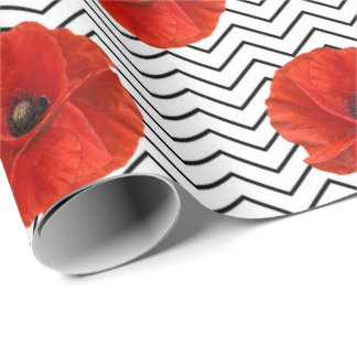 Poppy Red Flower Orange Glam Black White Chevron Wrapping Paper