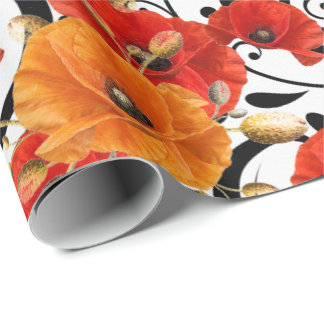 Poppy Red Flower Orange Glam White Black Meadow Wrapping Paper