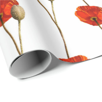 Poppy Red Flower Orange Glam White Mint Delicate Wrapping Paper