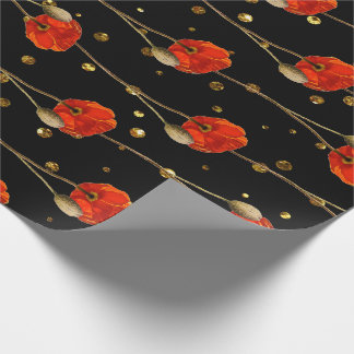Poppy Red Flower Stripes Glam Black Gold Confetti Wrapping Paper
