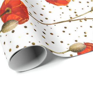Poppy Red Flower Stripes Glam White Gold Confetti Wrapping Paper