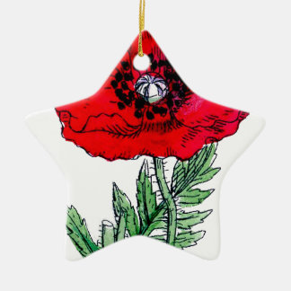 poppy red flowers vintage vines blossoms ceramic ornament