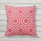 Poppy Red Geometric Pattern Outdoor Pillows