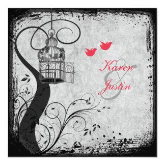 Poppy Red, Gray Birdcage Lovebirds Wedding Invite