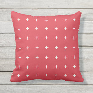 Poppy Red Outdoor Pillows - Cross Pattern