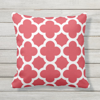 Poppy Red Quatrefoil Pattern Outdoor Pillows
