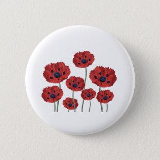 Poppy red white 2 inch round button