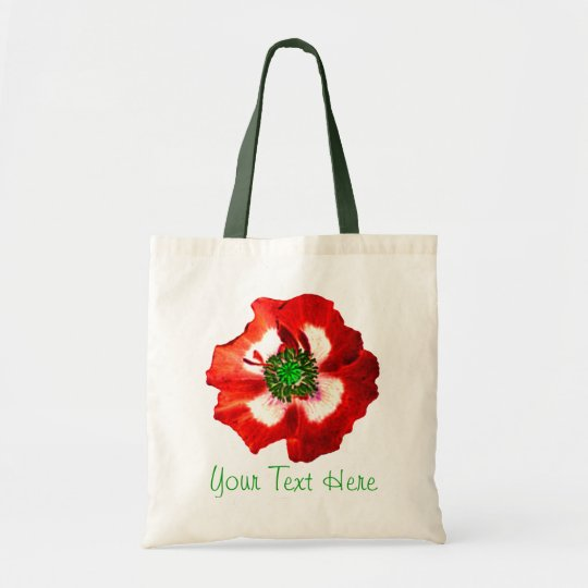 Poppy Red White Green 'Your Text'  tote bag