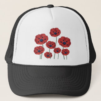 Poppy red white trucker hat
