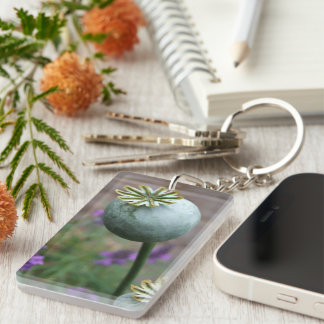 Poppy Seedhead Double-Sided Rectangular Acrylic Keychain