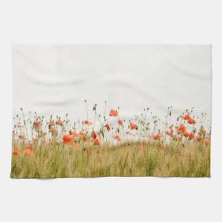 Poppy Seeds Field Flowers Kitchen Towel