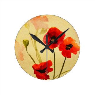 Poppy Shadows Art Clock