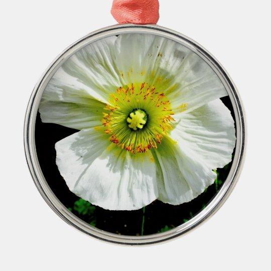 Poppy Silver-Colored Round Ornament