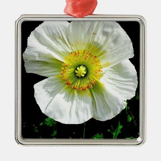 Poppy Silver-Colored Square Ornament
