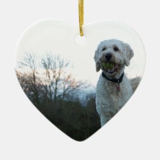 Poppy the labradoodle dog ceramic heart ornament