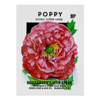 Poppy Vintage Seed Packet Poster