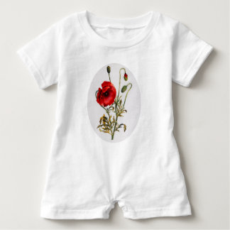 Poppy Watercolor Baby Romper