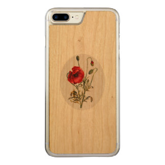 Poppy Watercolor Carved iPhone 8 Plus/7 Plus Case