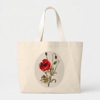 Poppy Watercolor Large Tote Bag
