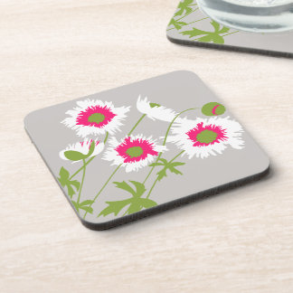 Poppy white, pink, green & grey set of 6 coasters