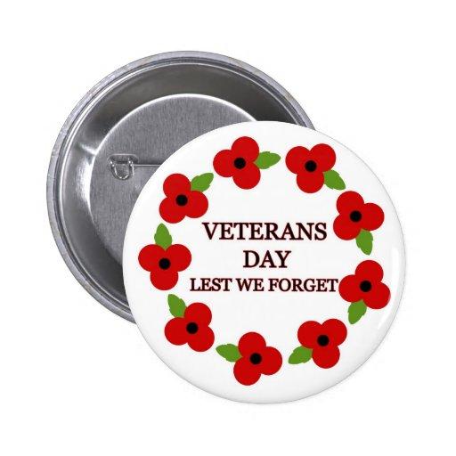 Poppy wreath - Badge Pinback Button
