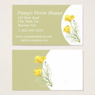 Poppy's Florist Shoppe Flower Business Card