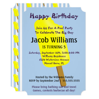 Pops and Ice Cream Birthday Party Invitation