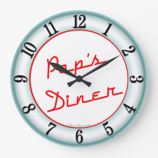 Pops Diner Retro Kitchen Wall Clock